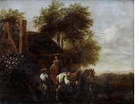 figures on horseback before a country inn by barend gael