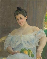 femme au bouquet by cornelia paczka wagner