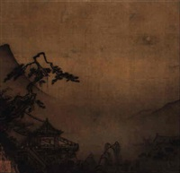 pine studio under moonlight by ma yuan