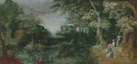 a wooded landscape with huntsmen in the foreground, a town beyond by claes dircksz van der heck