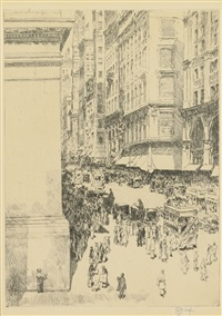 fifth avenue, noon by childe hassam