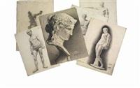 bacchus; antinoos of belvedere; unfinished venus de miloes; borghese gladiator; l'ecorché' standing man (6 works) by maria vasilevna jakunchikova