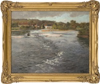 the river dordogne by beaulieu by frits thaulow