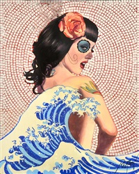 girl and the great wave (day of the dead series) by dennis ropar