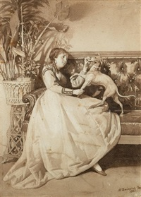 lady playing with her dog by nikolai dmitrievich dmitriev-orenburgsky