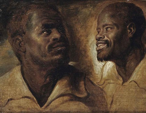 two studies of a male moors head by sir peter paul rubens
