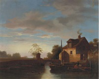 house along the river at dusk by johannes koekkoek