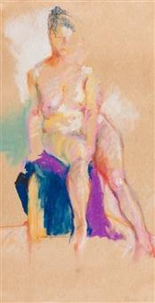 sitzender weiblicher akt by gottfried helnwein