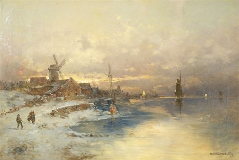 dutch harbor scene by georg fischhof