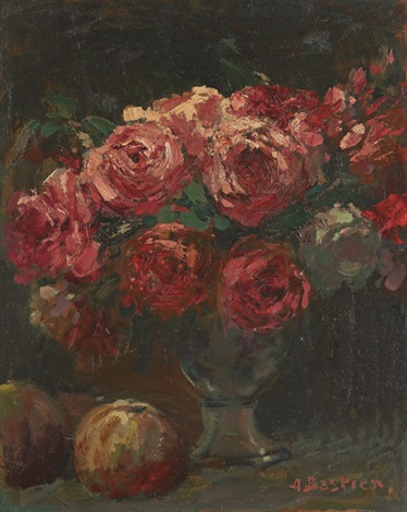 玫瑰瓶花 vase of flowers by alfred théodore joseph bastien