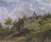 heuvelachtig landschap met huizen tussen bomen by adrianus van der koogh