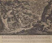 l'attente des sangliers et la chasse des chevreuils (2 works) by johann elias ridinger
