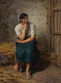 paysanne au repos (peasant girl resting) by jules breton