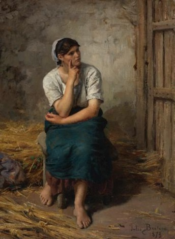 paysanne au repos peasant girl resting by jules breton