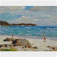 untitled - bathers along a sandy beach by richard jack