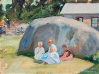 children playing in the yard by pekka halonen