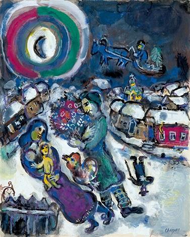 le village et famille ou famille au clair de lune by marc chagall