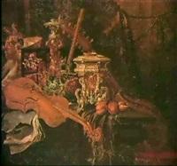 nature morte aux instruments de musique et a la piece    d'orfevrerie by jan-baptist moerkercke
