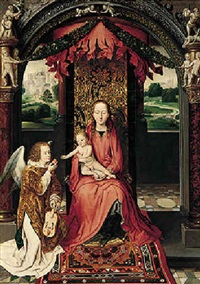 the virgin and child enthroned, with an angelic musician offering an apple to the christ child by hans memling