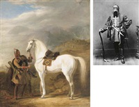 a circassian chief preparing his stallion by sir william allan