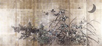 autumn plants and the moon by japanese school-rimpa (19)