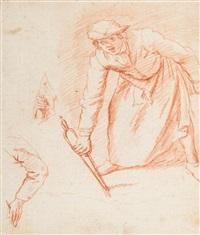 homme tenant une pince à feu avec reprise a gauche de la main et du bras by jan anton garemyn