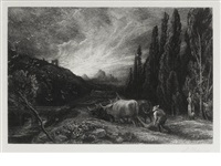 the early ploughman, or the morning spread upon the mountains by samuel palmer