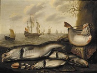 skate, sole, cod, chub and assorted shells lying on a beach with a line of dutch men-o'-war at sea beyond by willem ormea