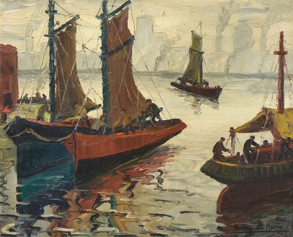 barcas en el riachuelo by benito quinquela martín
