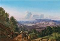 eine ansicht von orvieto von südwesten mit rastenden reisenden im vordergrund by johann joachim faber