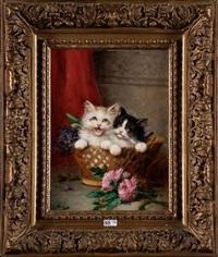chatons dans un panier de fleurs by léon charles huber