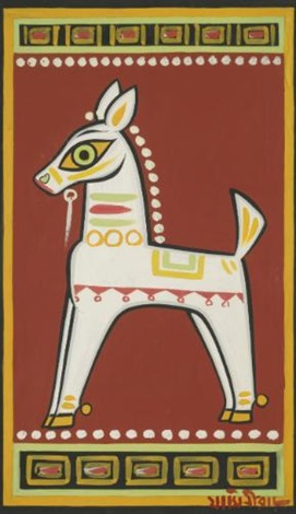 untitled horse by jamini roy
