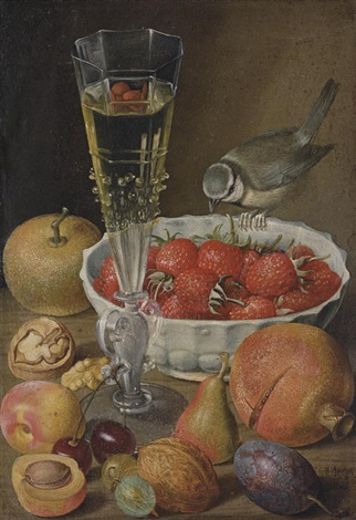 a façon de venise a bowl of strawberries a blue tit a pomegranate cherries other fruits and walnuts on a table by georg flegel