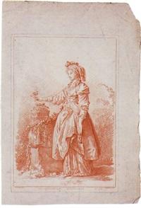 femme russe à l'oiseau by gilles-antoine demarteau