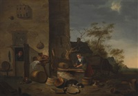 farmhouse yard, kitchenmaid cleaning fish by egbert lievensz van der poel