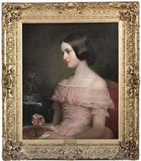 portrait of lady elizabeth scott, in a pink dress, holding a tapestry by eden upton eddis