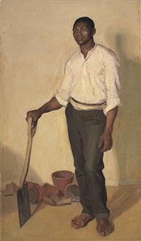 portrait of a negro gardener by harold gilman