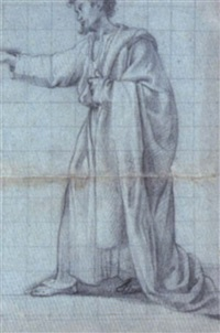 draped male figure, standing in profile and pointing to the left by antonio maria viani