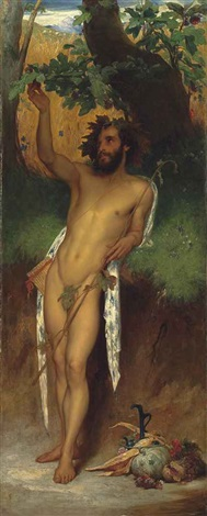 pan 'o thou, to whom broad leaved fig trees even now foredoom their ripen'd fruitage' (keats, endymion) by lord frederic leighton