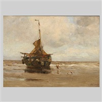 beached fishing boat by charles paul gruppe