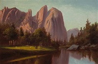 merced river, yosemite by frederick william billing