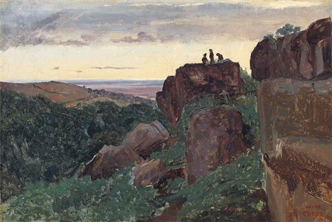 marino italie trois personnages au sommet des rochers by jean baptiste camille corot