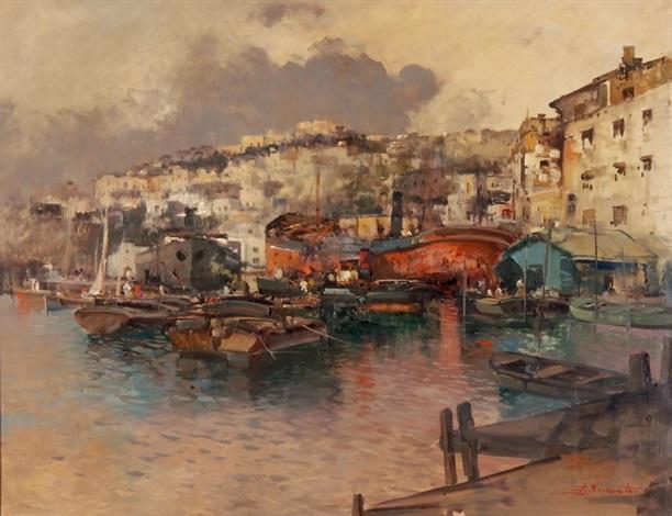 der hafen von capri mit angelegten schiffen by ezelino briante