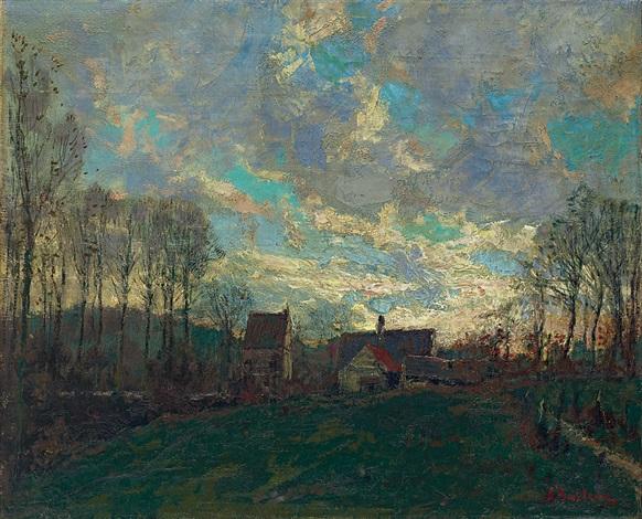 晚霞 sunset glow by alfred théodore joseph bastien