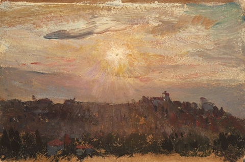 sunset over a hillside by colin campbell cooper