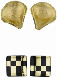 earclips (+ another, enamel, 18k gold; set of 2) by angela cummings