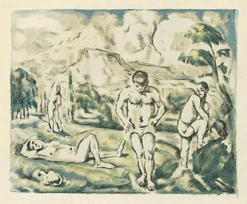 les baigneurs grande planche by paul cézanne