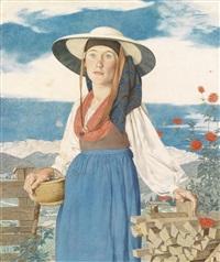 grundlseer bäuerin in alter tracht (schanzl flora) by viktor hammer