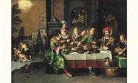 scène de banquet : lazare et le mauvais riche by kaspar (jasper) van den hoecke