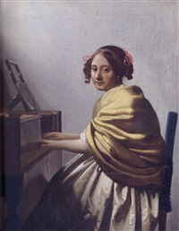 a young woman seated at the virginals by johannes (van delft) vermeer